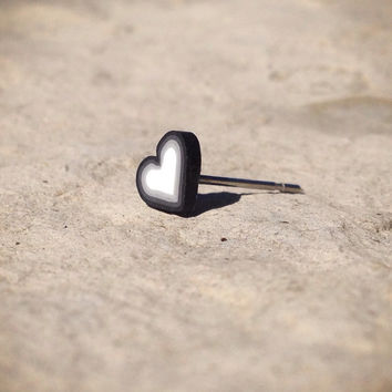 Cute Hearts in Black Or Pink Blue Green Surgical Steel Stud Earring. Perfect for Helix and Cartilage Piercings.
