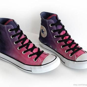 Ombr¨¦ dip dye Converse All Stars, raspberry pink, purple, ink blue, upcycled vintage s