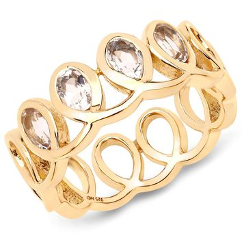 LoveHuang 0.54 Carats Genuine Morganite Ring Solid .925 Sterling Silver With 18KT Yellow Gold Plating
