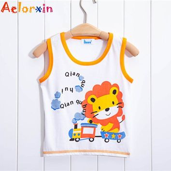 Cute Animal Boys T-shirts Cotton Children Clothing Tops Tee Shirt Summer Sleeveless Kids Clothes Boys T Shirt Cartoon Tank Vest