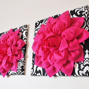 "Two Wall Flowers -Hot Pink Dahlia Flowers on Black and White Damask Print 12 x12"" Canvas Wall Art- Baby Nursery Wall Decor-"