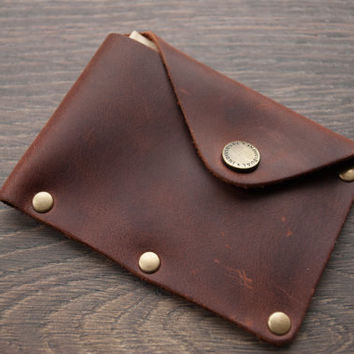 BLACK Friday Sale – 30% Leather Wallet with snap, leather card wallet, men's wallet, thin wallet, simple snap wallet Minimalist Wallet