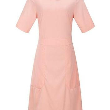 Plain Peter Pan Collar Women's Sheath Dress