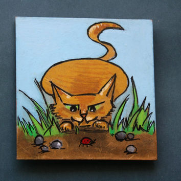 Magnet, fridge magnet, hunting cat, handpainted, watercolors, red background, gift idea, cat lovers gift idea