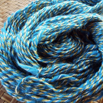 Handspun  3-ply Yarn Wool Cashmere Cotton Blue White Gold 144 yds