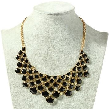 new Bohemia Acrylic Beads Golden Plated Chain Choker Necklace