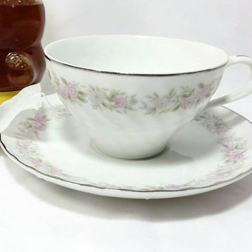 Vintage Teahouse Rose Teacup and Saucer/The Dansico Collection Fine China Cup and Saucer/Pink Floral with Silver Trim Cup and Saucer