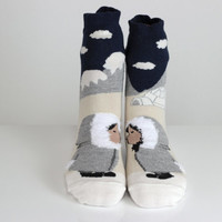 Eskimo Socks Kissing Eskimo 3D Socks Leg Warmer Mountain Socks Funny Socks Ankle Socks Animal Socks Cute Fun Socks Cotton Animal Socks