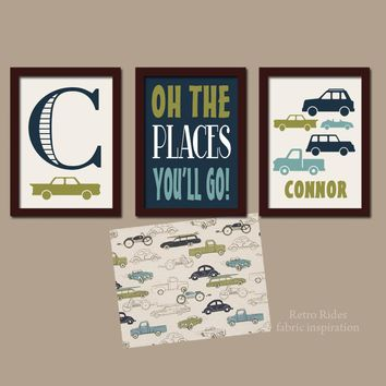 CARS Wall Art, CANVAS or Prints, Retro Rides Decor, Baby Boy Nursery Decor, Trucks Transportation Theme, Oh The Places, Boy Name Set of 3