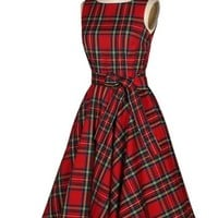 Backless Plaid Lace up Women's Vintage Dress