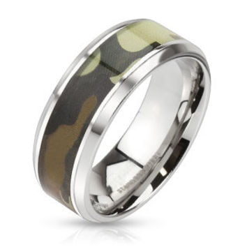 Camo Connection - FINAL SALE Camouflage inlaid beveled edge stainless steel ring