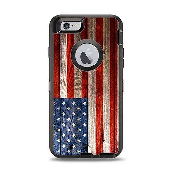 The Wooden Grungy American Flag Apple iPhone 6 Otterbox Defender Case Skin Set