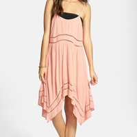 Volcom 'Last Call' Eyelet Handkerchief Hem Dress (Juniors)
