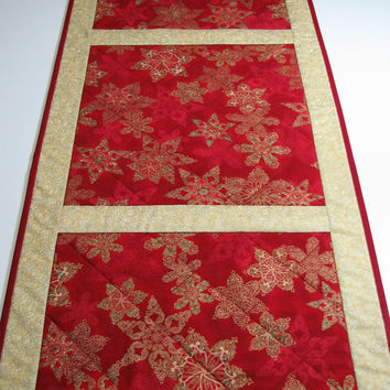 Quilted Table Runner , Christmas Table Runner , Ornate Snowflakes , Burgundy and Gold