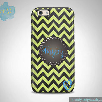 iPhone case, Personalized iPhone case iPhone 6 case 6 plus Samsung case S6 Edge S5 S4, Faux Chalkboard Yellow Chevron Monogram Heart (33)