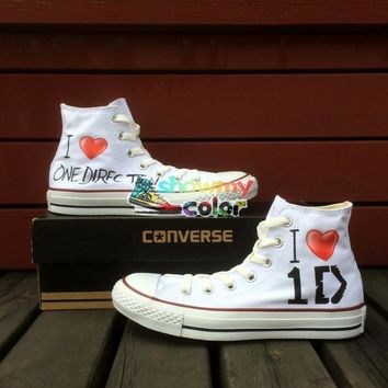 1D One Direction White High Top Women Men Converse