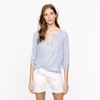 Chambray dot peasant top