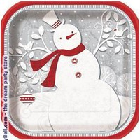 Men's Frosted Holiday Dinner Plates (8) for Christmas