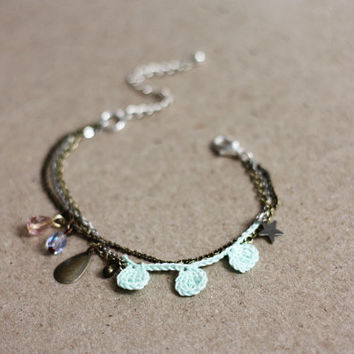 Charm bracelet stacking dainty romantic spring jewelry, multi strand bracelet, mint green