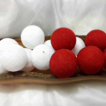 100 white mix red  cotton ball pom pom garland decorative handmade ball display lantern home decor DIY