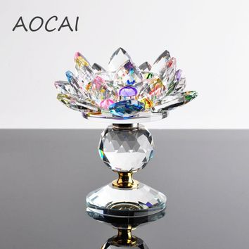 Crystal Glass Lotus Flower Candle Holders