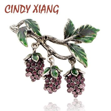 CINDY XIANG Luxury Rhinestone Grapes Brooches for Women Fashion Fruit Pins Enamel Vintage Design Jewelry Coat Accessories Gift
