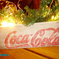 Wood  Coca Cola Crate 10 1/2 x 14  with Mason Jar & Pine, small red berries, small strand elecric clear  lights