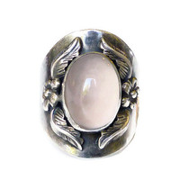 Carol Felley Ring Sterling Silver Rose Quartz Floral Silver 925 Vintage Jewelry