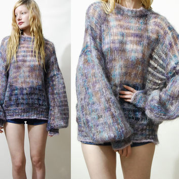 70s Vintage MOHAIR Sweater Fluffy Sheer Purple Wool Scottish Knit Knitted Puff Bell Balloon Sleeve Oversized Jumper S M L