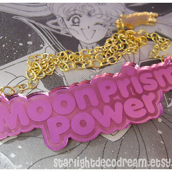 PRE ORDER Moon Prism Power Sailor Moon Mirror Pink Acrylic Necklace for Kawaii Mahou Shoujo Magical Girl Mahou Kei Style