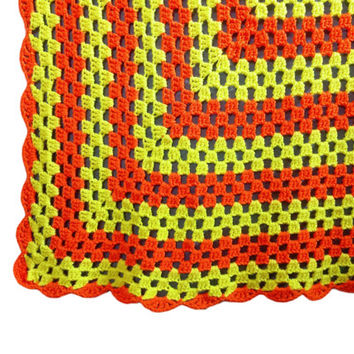 Vintage Crochet Afghan Throw, Yellow and Orange, Lightweight Summer Blanket, Granny Chic, Halloween, Candy Corn, Handmade, Knitted, Bright