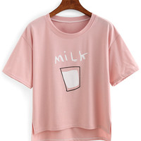 Milk Print High-Low T-shirt -SheIn(Sheinside)
