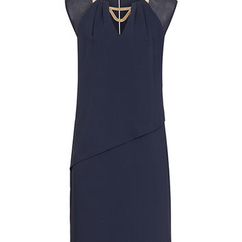 Haze Night Navy Chain-detail Dress - REISS