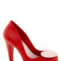 Mel Shoes Kawaii Shoe of Hearts Heel in Red