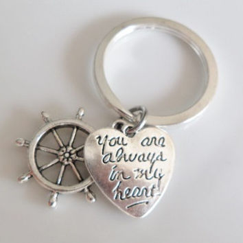 "Rudder Keychain ""you're always in my heart"" charms, best friend keychain, Sister mother daughter boyfriend girlfriend Gift"