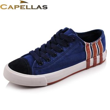 CAPELLAS New Arrival Men Casual Shoes Fashion Canvas Shoes For Men Summer Shoes Breathable Lace Up Men Flats Zapatos Size 39-44