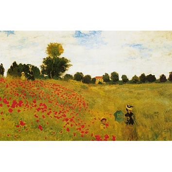 Claude Monet Poppy Field Near Argenteuil Poster 24x36