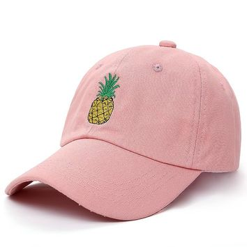 Trendy Winter Jacket VORON new Pineapple Embroidered Baseball Cap Funny Fresh Fruit Hipster Hat Pineapple Dad Hat Baseball Cap AT_92_12