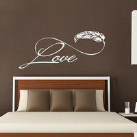 Love Wall Decal Feather Decals Family Vinyl Lettering Sayings Stickers Home Bedroom Boho Decor T144
