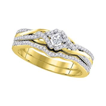 10kt Yellow Gold Womens Princess Diamond Bridal Wedding Engagement Ring Band Set 1/3 Cttw