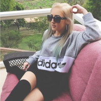 """Adidas"" Print Sweatshirt Top Sweater"