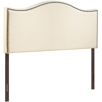 Upholstered Arched Nailhead Trim, Padded Textured Fabric Headboards