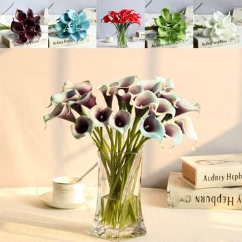 Artificial Calla Lily Flowers Bunch Bridal Bridemaid Bouquet Bundle Home Party Wedding Decoration Table Ornaments 10Pcs/Set