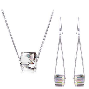 tiger totem free shipping simple square cubic cube pendant top quality Crystal charm women girl necklace earring fashion Jewelry