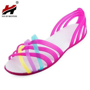 Women Sandals 2017 Hot Summer New Candy Color Women Shoes Peep Toe Stappy Beach Valent