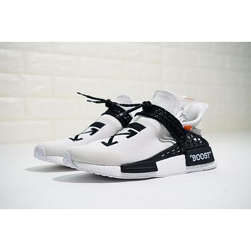 OFF-WHITE x Pharrell x adidas NMD Hu Race Trail OW White Running Shoes BB7725
