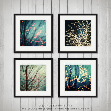 Christmas Photography, Abstract Holiday Decor for Ikea RIBBA, Teal Aqua Sparkle Tree Bokeh Surreal Photograph, Set of 4 Christmas Prints.