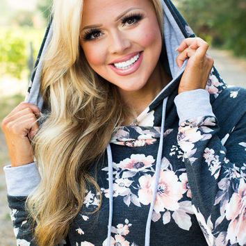 This Floral Hoodie Tho Charcoal