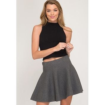 Kixters - Grey Stretch Flare Sweater Skirt