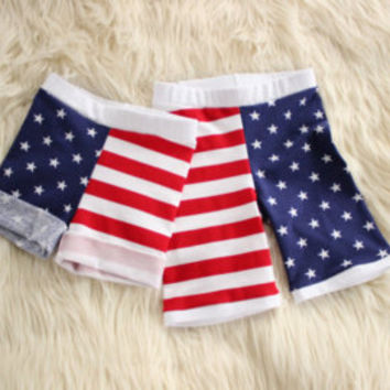 Patriotic shorts-baby shorts, toddler shorts, stars and stripes, red white and blue